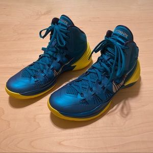 "Nike Hyperdunk 2013 ""Teal/Yellow"" Mens Size 10"